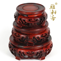 TZ Zhai Rosewood Carving Crafts Red Rosewood Three Piece Jade Flower Vase A Few Round