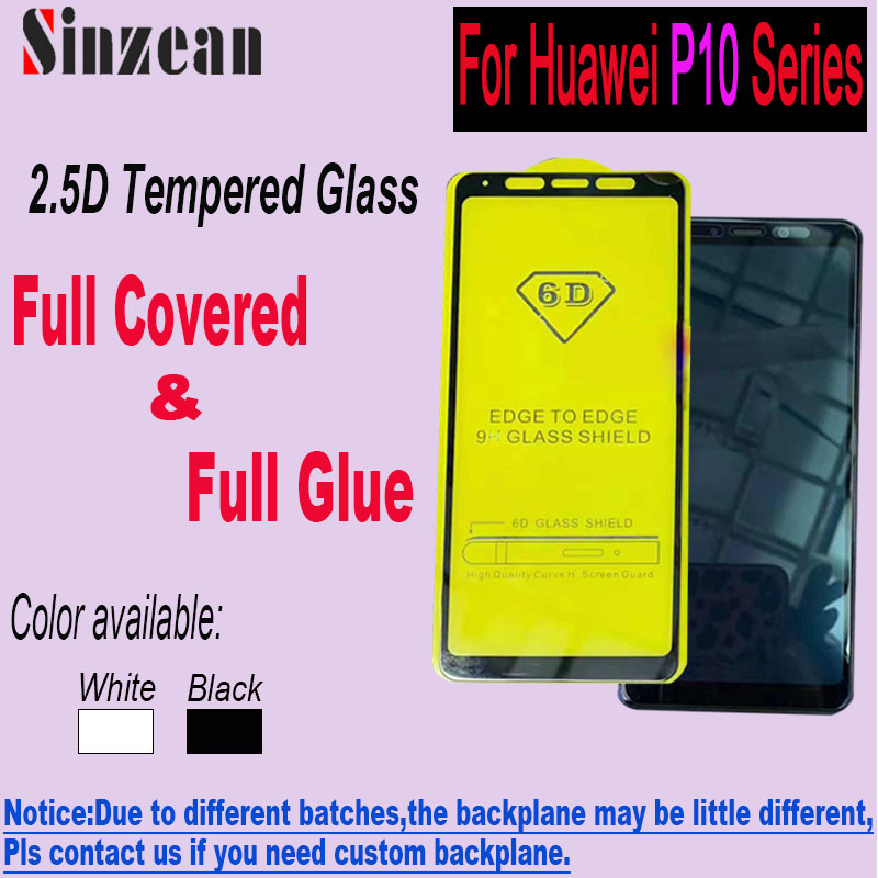 Sinzean 100pcs 2 5D Full Glue Tempered Glass for Huawei P10 lite P10 Plus Full Cover