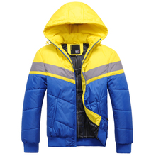 2017 winter fashion new men leisure thick warm cotton-padded clothes / Man's color matching hooded zipper coat jacket