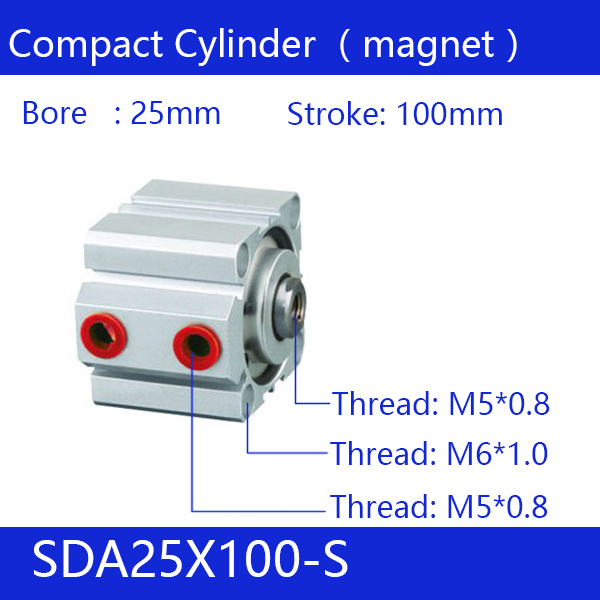 SDA25*100-S Free shipping 25mm Bore 100mm Stroke Compact Air Cylinders SDA25X100-S Dual Action Air Pneumatic Cylinder, Magnet sda16 70 s free shipping 16mm bore 70mm stroke compact air cylinders sda16x70 s dual action air pneumatic cylinder magnet
