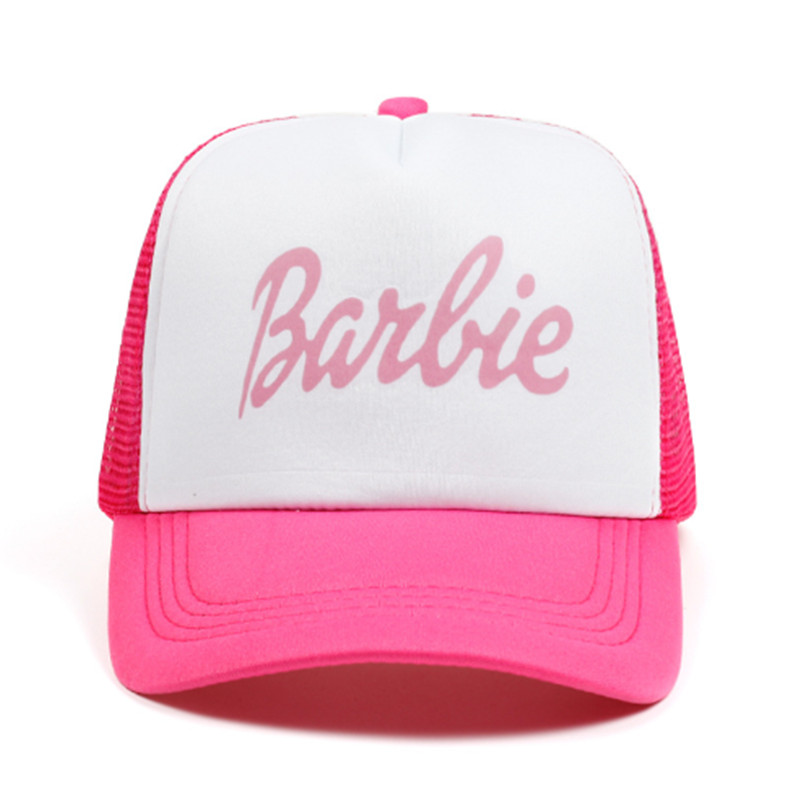 Women New Snapback Baseball Caps Barbie Letters Cotton Baseball Cap Hat Pink Breathable Mesh