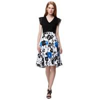 Retro Rockabilly Vintage Skirt Floral Print Ball Gown Midi Skater Skirt Summer High Waist Skirts 50s
