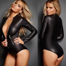 Women Fashion Sexy Patent Leather Leotard Locomotive Bodysuit Jumpsuit Sleepwear
