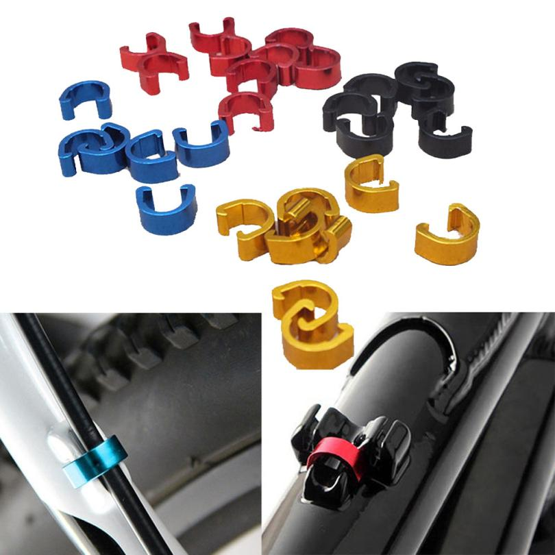 10pcs Bike Bicycle Cycle MTB C-Clips Buckle Hose Brake Gear Cable Housing Guide Aluminum Road Mountain Bike Accessories P60