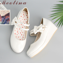 Meotina Large Size 9 10 Shoes Women Pumps Round Toe Mary Jane Black Platform Shoes Wedge Heels Bow Ladies Shoes Yellow White
