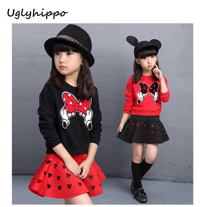NEW Autumn Baby Girl Clothes Girls Clothing Sets Cartoon  Long Sleeve+Stars Skirt Casual  girls suits BA133 humor bear baby girl clothes set new sequins letter long sleeve t shirt stars skirt 2pcs girl clothing sets kids clothes