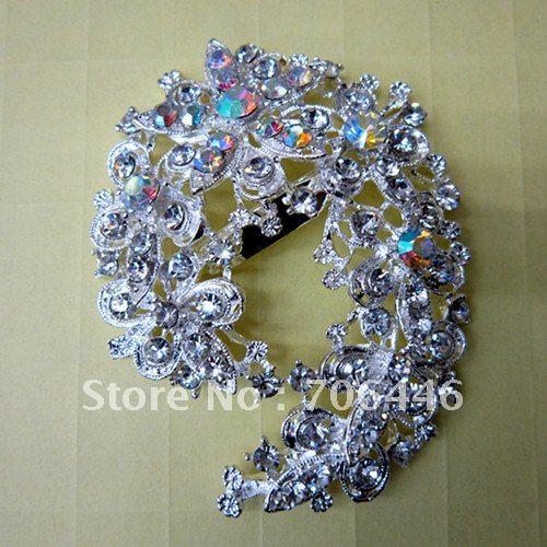 Большая Блестящая серебряная потрясающая свадебная брошь в форме цветка со стразами