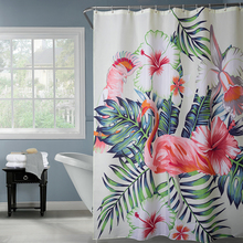 Happy Tree Polyester Red Flamingo and Green Leaves Shower Curtain Thicken Fabric Bathroom Curtain Waterproof Bath Curtain. waterproof happy halloween ghost bath curtain