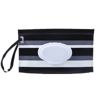 Portable Baby Wet Wipes Storage Bag Stroller Carrying Case Easy Carry Snap Strap Wipes Container Clamshell Cosmetic Pouch
