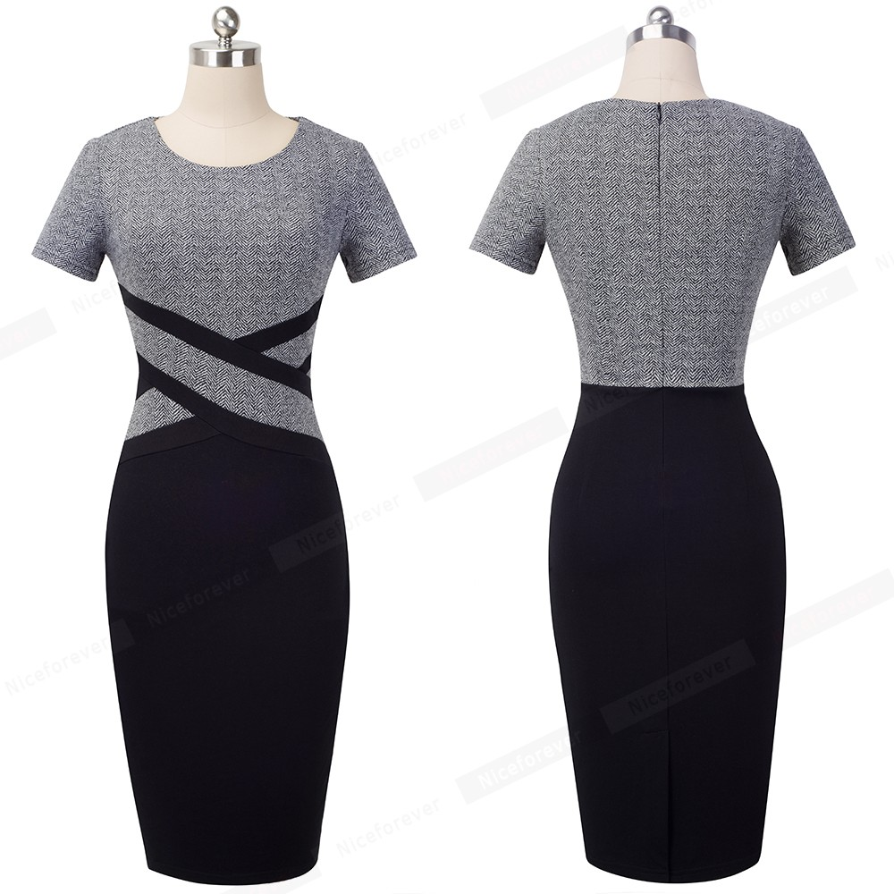 Nice-forever Vintage Elegant Contrast Color Patchwork Wear to Work vestidos Business Party Office Women Bodycon Dress B463 13
