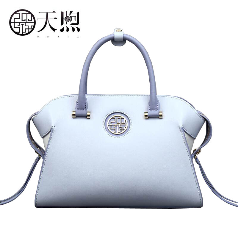 Pmsix2018 High-quality luxury fashion new high-grade leather Chinese style simple leather handbag handbag fashion trend package fashion europe style high quality brass