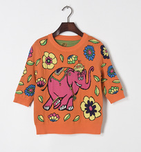 Fashion woman's half sleeve Orange elephant print knitwear 2017 spring flower printing sweater pull-over knit shirt S-L size