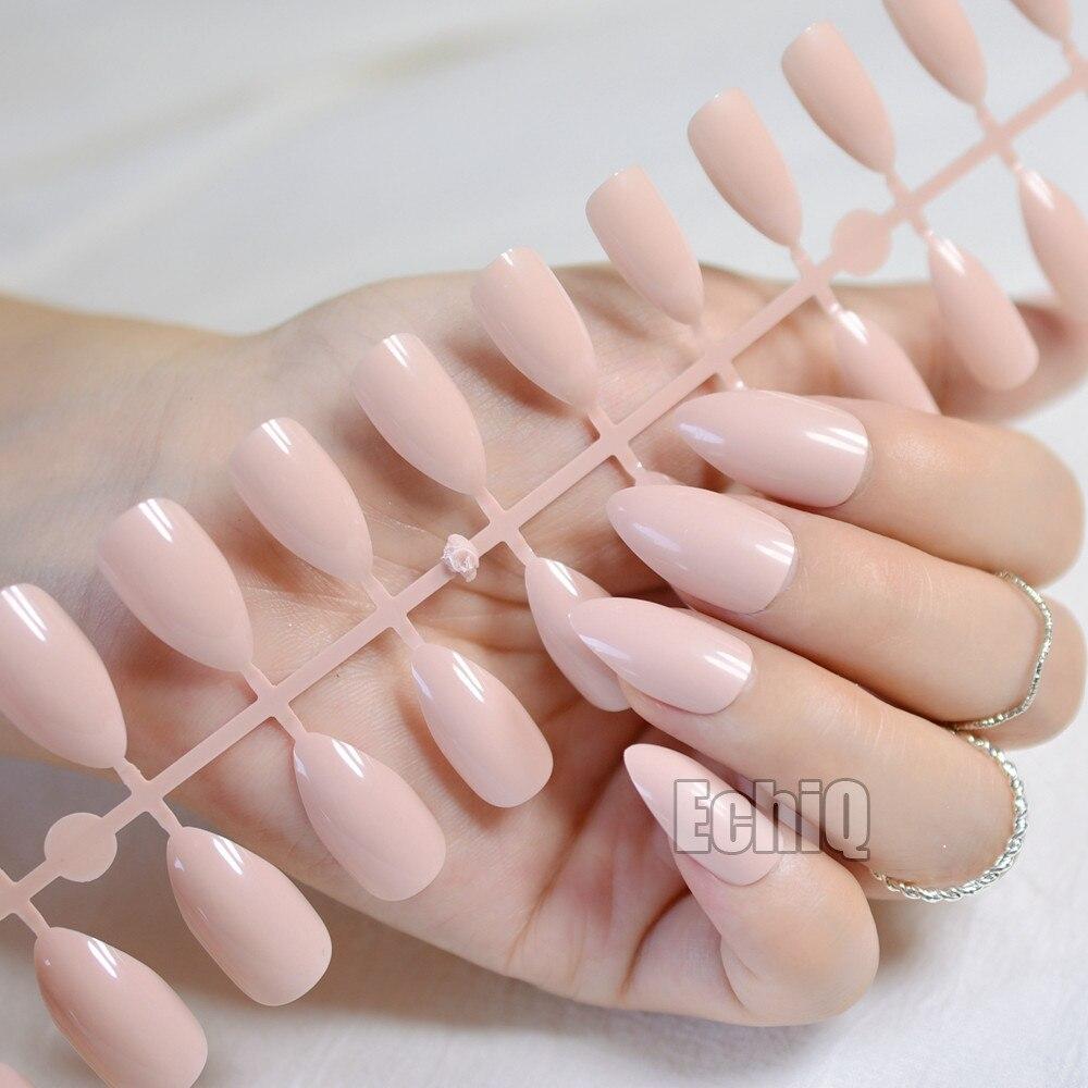 24pcs High Quality Charming Fake Nail Natural Pink Shimmer Glitter ...