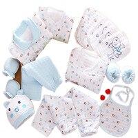 Autumn cute infant 100% cotton warm clothing newborn gift baby boy girl cartoon soft underwear newborn clothes 19pcs/set 17N1120