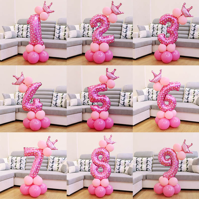 1 Set Blue Pink Foil Number Balloon Thicken