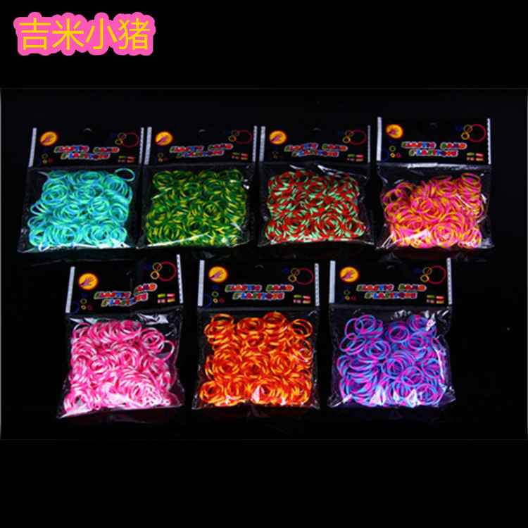 600pcs Two-tone Loom Bands For Children Lacing Bracelet Girl Gift Multicolor Rubber Band Kids Toy Orbits Needlework Creativity