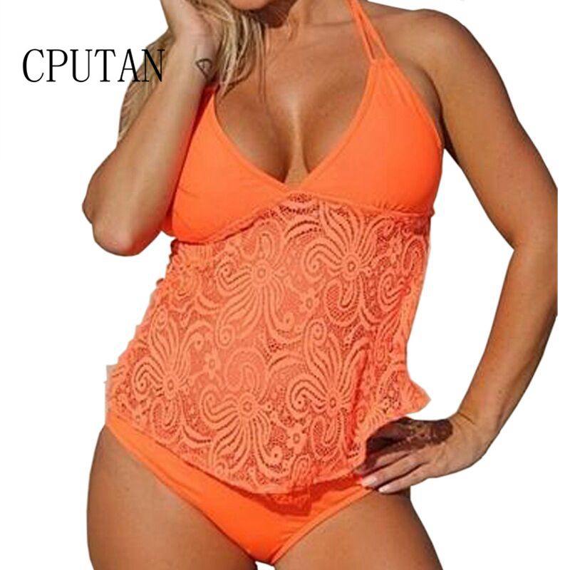 Two Piece Tankini Plus Size Swimwear Women Push Up Beachwear 2017 Lace Bikini Set low Waist Swimsuit BathingSuit Brazilian S-5XL