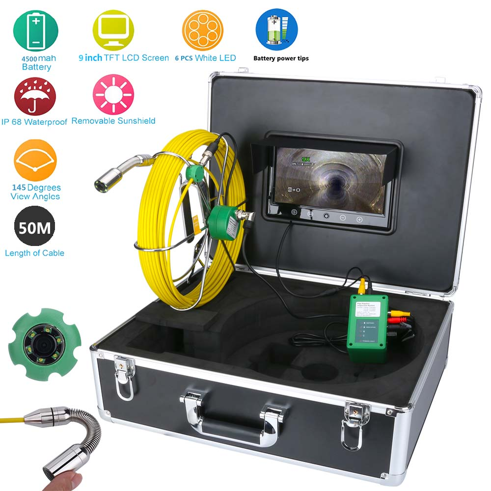 9LCD Pipe Inspection Video Endoscope HD Camera 20M 30M 50M IP68 Waterproof Drain Pipe Sewer Inspection Camera System 1000 TVL