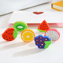 2 PC/bag creative cartoon stationery and lovely fruit eraser learn office The school supplies free shipping