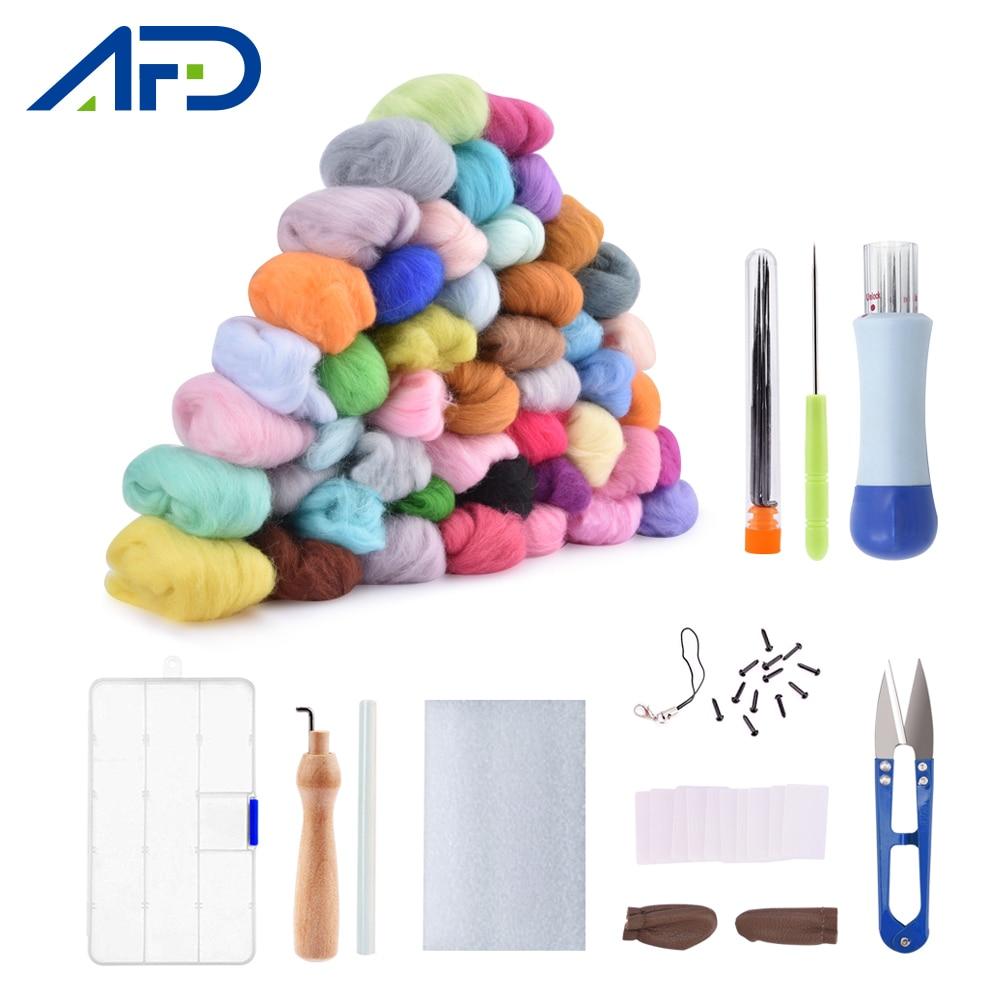 50/36 Color DIY Wool Felt Kit Handle Wool Felting Tools Handmade Felt Needle Set 7pcs Pack Felting Fabric Materials Handcraft(China)