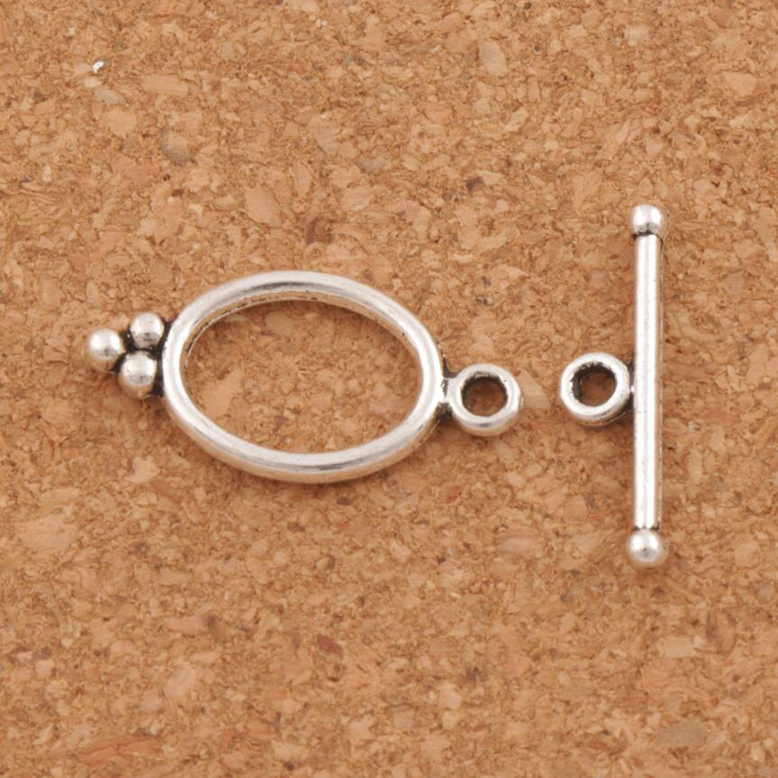 fd7f076352e8 Oval DOTS anillo aleación Toggle clasp resultados de la joyería pulseras  aptas L843 27 conjuntos de plata antigua