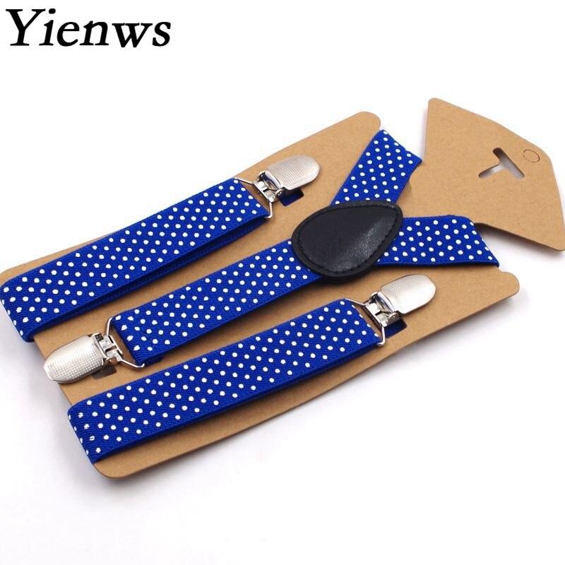 Yienws Kids Suspenders Braces Stylish Print Dot 3 Clip Trousers Brace Strap Boys Black Royal Blue Bretels 65cm YiA047