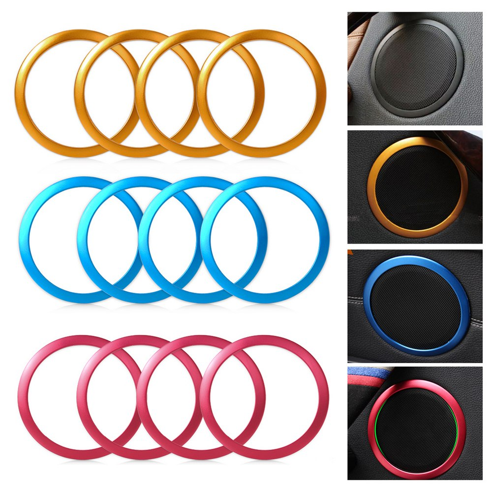 4pcs/pack Car Speaker Frame <font><b>Sticker</b></font> For <font><b>BMW</b></font> 3 Series F30 F34 320 328 Auto Speaker Interior Cover Rings Car Styling image