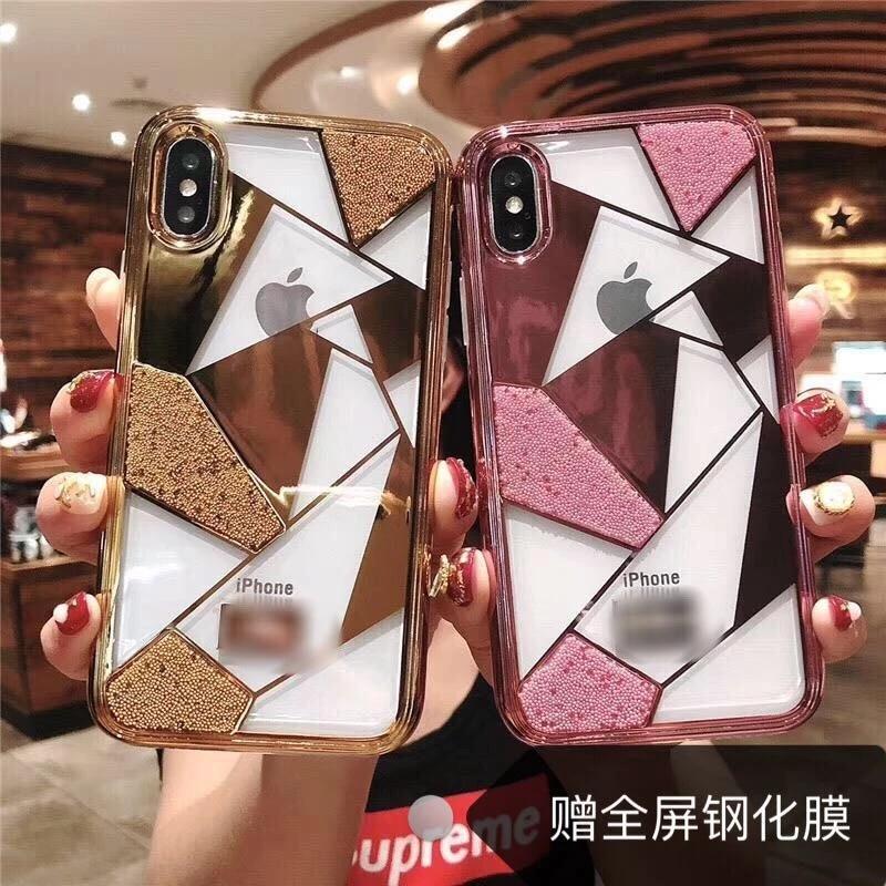 Iphone xs max coque de téléphone Swarovski 6 s simple 7 plus souple tout compris anti-chute 8 placage luxe housse de protection