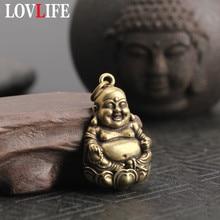Чистая медная Майтрея статуя Будды Брелки Подвеска Ретро твердая латунь Висячие украшения Смеющийся Будда брелоки подвески