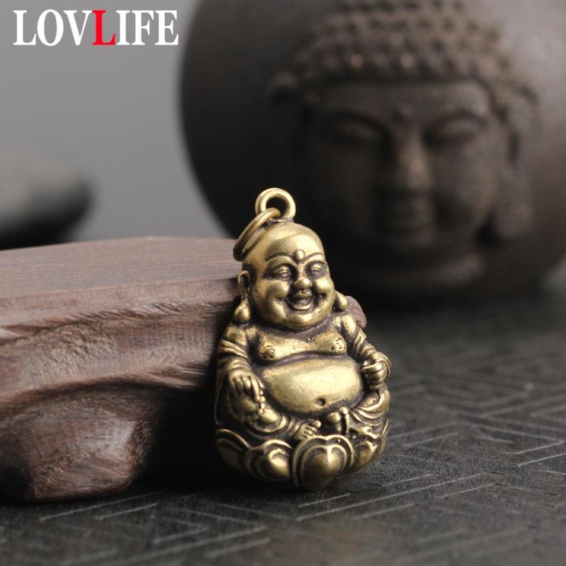 Pure Copper Maitreya Buddha Statue Keychains Pendant Retro Solid Brass Hanging Ornaments Laughing Buddha Key Rings Pendants