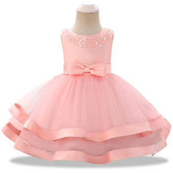 9fc0c6311 0-24 meses bebé niña vestido perla bordado tutú vestidos de bautismo para niñas  1 er año cumpleaños fiesta boda ropa de bebé