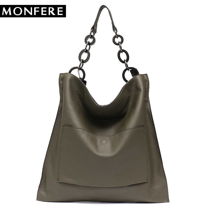 213e76eb1315 MONFERE Brand Luxury 100% Genuine Leather Handbags For Women Fashion Pocket  Large Capacity Big Chain
