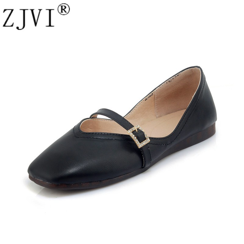 ZJVI Women fashion Square toe flats 2018 sexy spring summer black white pink flat party shoes ladies woman womens casual shoes drfargo spring summer ladies shoes ballet flats women flat shoes woman ballerinas pointed toe sapato womens waved edge loafer