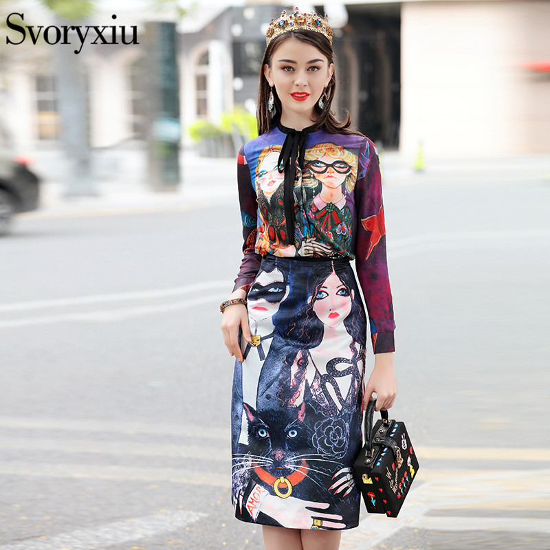Svoryxiu 2018 Fashion Runway Skirt Suit Women's Long Sleeves Vintage Character Print Blouse + A Line Half Skirt Two Piece Set
