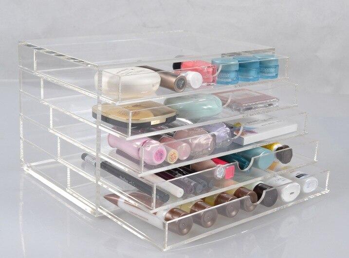 20 pièces nouveau anti-rayures Transparent acrylique boîte de maquillage organisateur cosmétique affichage bijoux mallette de rangement 5 tiroirs livraison gratuite