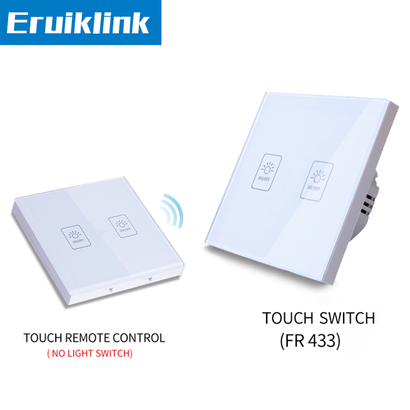 EU/UK Standard 1/2/3 gang 2 way Remote Control Light Switch,Glass Panel Lamp Switch For RF Smart home Touch Wall Light Switch