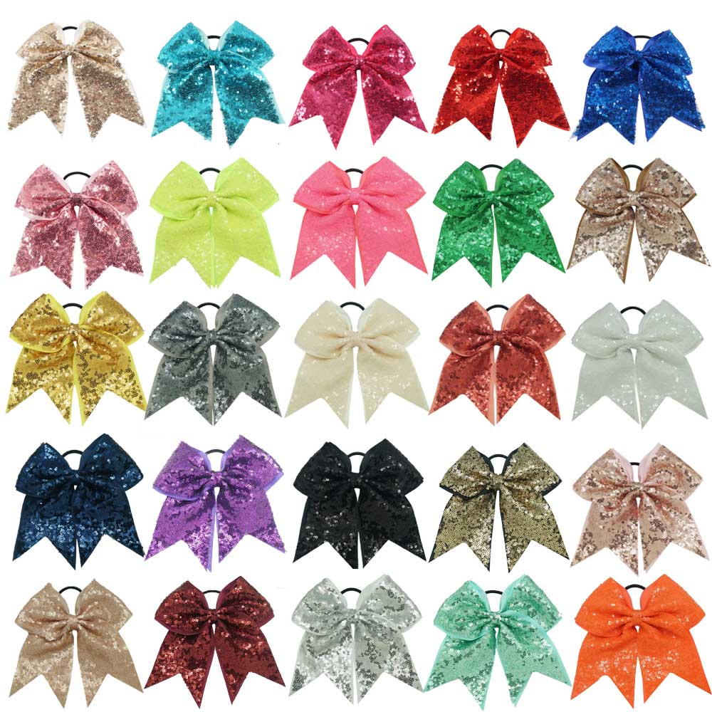 """7"""" Solid Sequin Hair Bow For Girls Handmade Ribbon Cheer Bows With Elastic Bands For Children Hair Holder Hair Accessories"""
