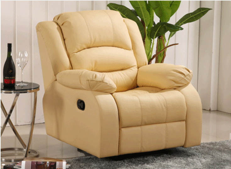 Antique European Creative cow real genuine leather chair single living room sofa chairs swivel chair functional chair recliner