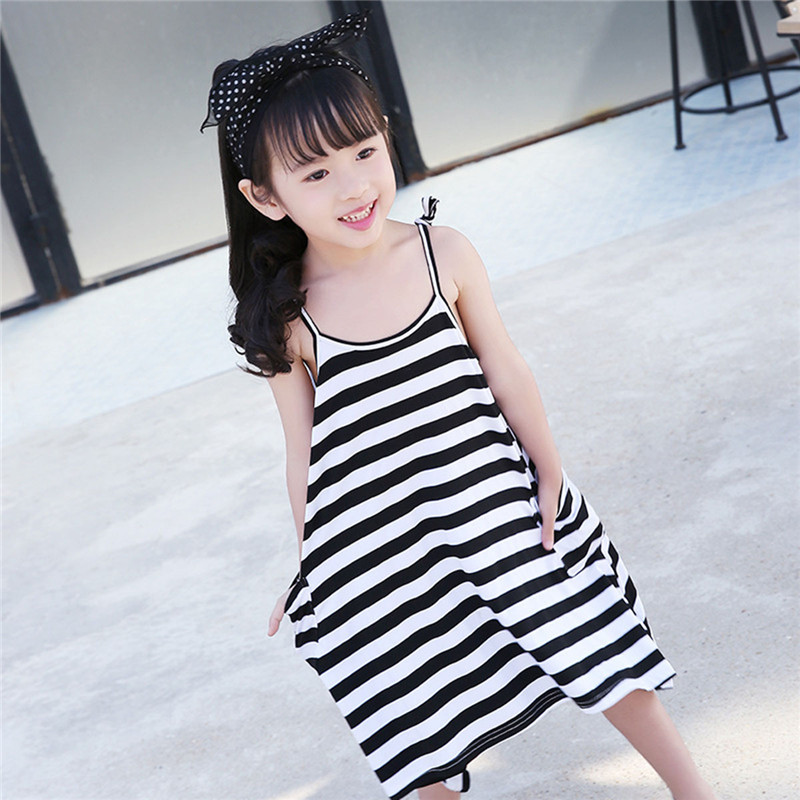 Mother&Kids Cloth 1 PCS Mother Daughter Dresses Black And White Striped Summer Style Family Matching Outfits Girl Vest Sundress