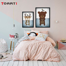 Cartoon Animals Wall Art Canvas Painting So Cute Bear Fox Rabbit Poster And Print Kids Room Decoration Wall Picture Home Decor cute kids satchel with star print and bear shape design