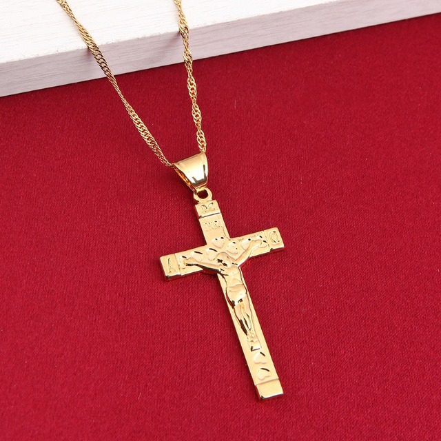 Men jesus cross necklace gold color inri heart pendant for men men jesus cross necklace gold color inri heart pendant for men jerusalem cross jewelry aloadofball Images