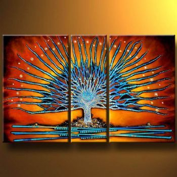 3pcs Hand Painted Oil Painting- Modern Canvas Art Wall Decor-Astral Tree