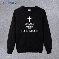 New winter autumn Style Fashion SMOKE METH HAIL SATAN Men Casual sweatshirts O Neck Cotton hoodies Brand Clothing pullover