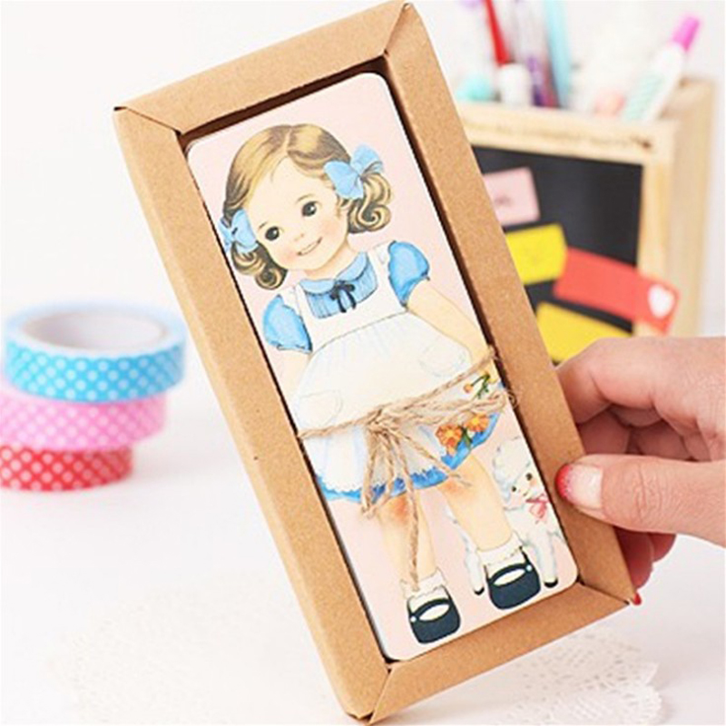 Cartoon Paper Bookmarks for Books Cute Doll Girls Vintage Book Mark Stationery Office School Supplies 30pcs set flowers bookmarks message cards book notes paper page holder for books school supplies accessories stationery