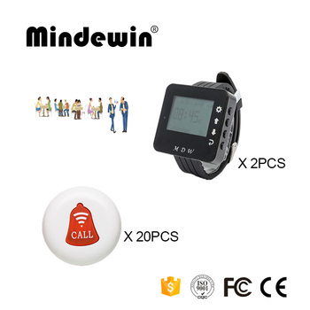 Mindewin Restaurant Coaster Pager Wireless Paging System 20PCS Table Call Buttons M-K-1 and 2PCS Wrist Watch Pager M-W-1