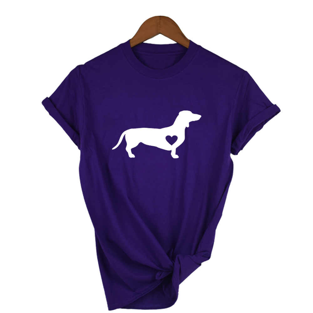 Jamnik miłość odcisk psiej łapy koszulka Doxie koszula jamnik koszula Streetwear Tumblr koszulki z krótkim rękawem kobiety przyczynowe graficzne koszulki w stylu Harajuku