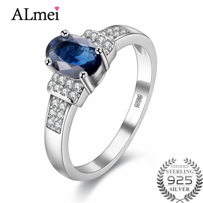Almei 1ct naturel bleu saphir diamant anneaux bande 925 en argent Sterling bijoux fins pour les femmes cadeau de mariage avec boîte 40% FJ081