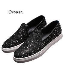 Ovxuan Starry Sky Totem Leather Loafers for men Fashion Party and Banquet Male Dress Flats Shoes Rivets Casual Street Men Shoes
