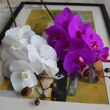 Flores artificiais plutônio real toque borboleta orquídea para casa nova decoração do festival de casamento em casa phalaenopsis natal diy presente