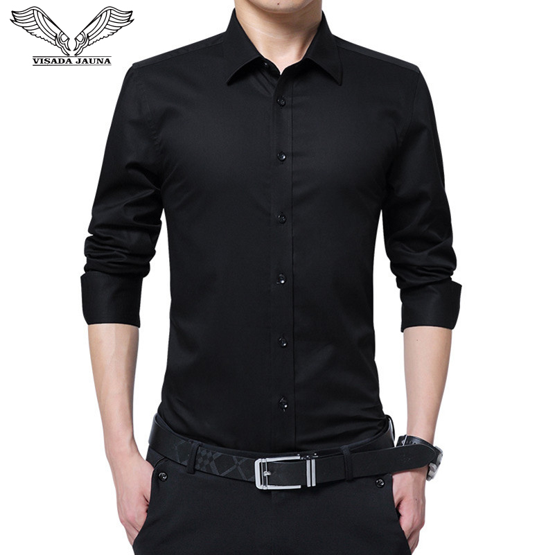 VISADA JAUNA Business Casual Men Shirt Long Sleeve Fit Slim Solid Male Clothing Brand Plus Size M-8XL Camisas Masculina N5878 camisa elegante para hombre